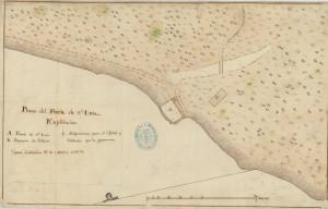 Forte de São Luís da Praia de Fora em mapa espanhol de 1778
